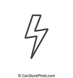 relámpago, vector., perno, símbolo., línea, icono, trueno