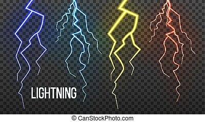 relámpago, vector., power., eléctrico, tormenta, realista, ...