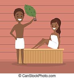 relâcher, bois, gens, bathhouse., sauna., spa