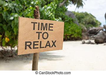 relâcher, bois, texte, signe, temps, plage