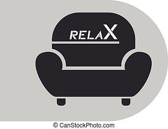relâcher, fauteuil, symbole