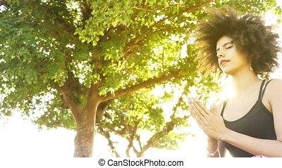 relâcher, femme méditer, nature