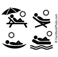 relâcher, gens, isolé, blanc, icônes, plat, été, pictograms, bains de soleil