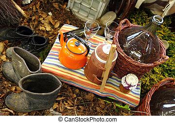 relâcher, petit déjeuner, jardin, -