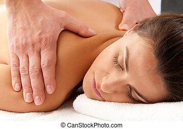 relâcher, réception, portrait, traitement, femme, gros plan, mains mâles, masage