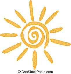 relâcher, soleil, résumé, été, signe, blanc, jaune, symbole, arrière-plan.