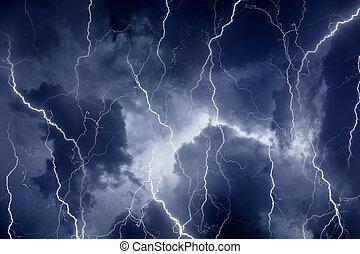 relâmpagos, céu, tempestuoso