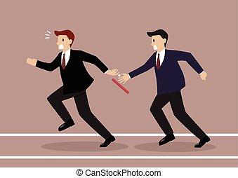 relé, competição, batuta, raça, falha, homem negócios,...