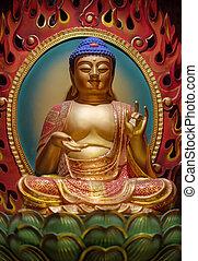 relíquia, chinês, cingapura, dente, buddha, senhor, templo