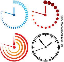 relógio, ícones, (clock, set)