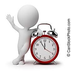 relógio, alarme, pessoas, -, pequeno, 3d