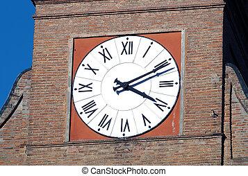 relógio, arquitetura romana, vila, tijolo, torre, vermelho, italiano
