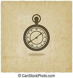 relógio bolso, antigas, retro, fundo