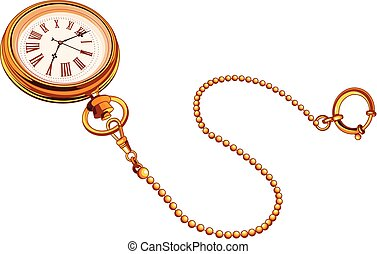 relógio bolso, ouro