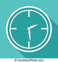 relógio, branca, longo, sombra, círculo, ícone