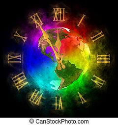 relógio, cósmico, -, futuro, optimista, terra, américa