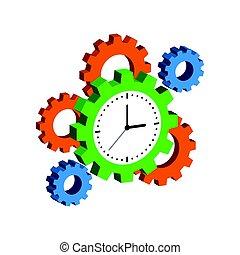 relógio, com, cogwheels, cronometre administração, símbolo., apartamento, isometric, ícone, ou, logo., 3d, estilo, pictograma, para, projeto teia, ui, móvel, app, infographic.