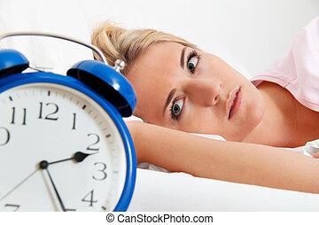 relógio, com, sono, em, night.