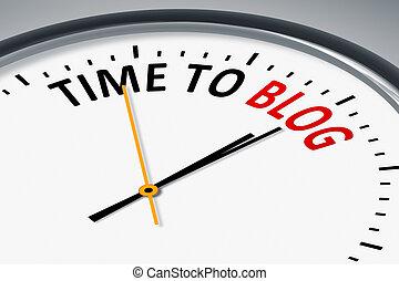 relógio, com, texto, tempo, para, blog