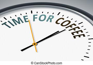 relógio, com, texto, tempo, para, café