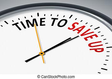 relógio, com, texto, tempo, poupar, cima