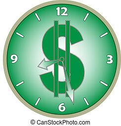 relógio, com, um dólar, sinal