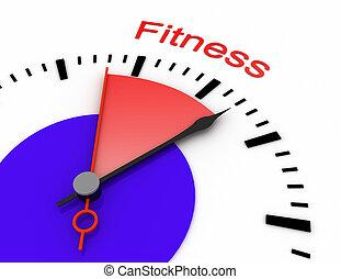 relógio, com, vermelho, secunda mão, área, 3d, fitness.rendered, ilustração