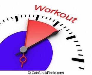 relógio, com, vermelho, secunda mão, área, burnout, 3d, workout.rendered, ilustração