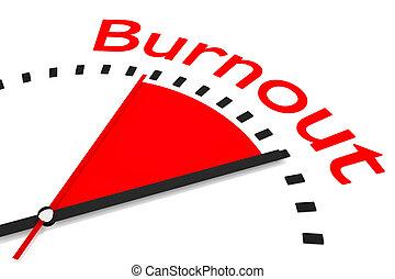 relógio, com, vermelho, secunda mão, área, burnout, ilustração