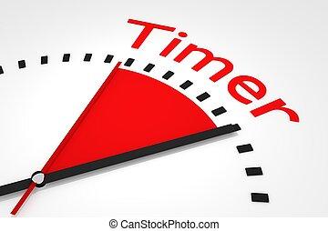relógio, com, vermelho, secunda mão, área, cronômetro, ilustração