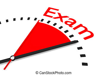 relógio, com, vermelho, secunda mão, área, exame, ilustração