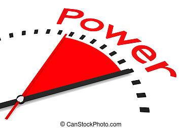 relógio, com, vermelho, secunda mão, área, poder, ilustração