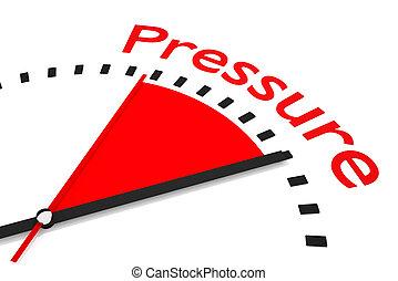 relógio, com, vermelho, secunda mão, área, pressão, ilustração