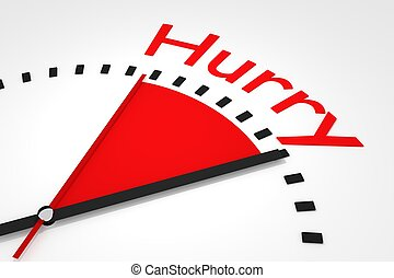 relógio, com, vermelho, secunda mão, área, pressa, ilustração