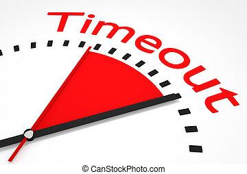 relógio, com, vermelho, secunda mão, área, timeout, ilustração