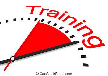 relógio, com, vermelho, secunda mão, área, treinamento, ilustração