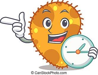 relógio, conceito, mascote, sorrindo, pseudomonas, desenho