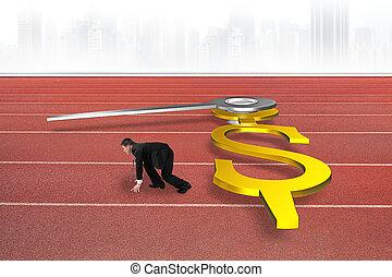 relógio, conceito, tempo, dólar, pista, contra, fazendo, forma, raça, mãos, homem negócios, vermelho, 3d