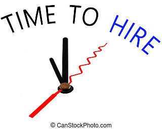 relógio, contratar, conceito, tempo