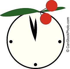relógio, cor, cereja, ilustração, redondo, decoração, vetorial, branca, ou