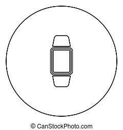 relógio, cor, mão, pretas, digital, círculo, ícone