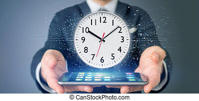 relógio, cronômetro, fazendo, segurando, homem, 3d
