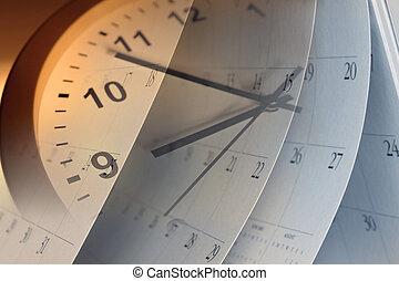 relógio, e, calendário