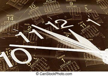 relógio, e, calendário, páginas