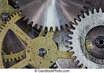 relógio, engrenagens, e, cogs, macro, fundo
