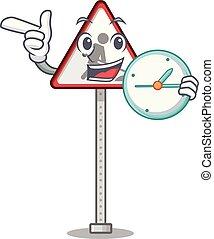 relógio, estrada, personagem, trabalho, à margem estrada, sinal