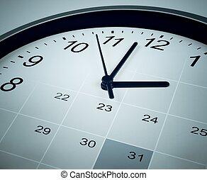 relógio, face., gerente, agenda, tempo, calendário, concept.