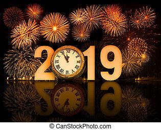 relógio, fogos artifício, rosto, 2019, ano, novo