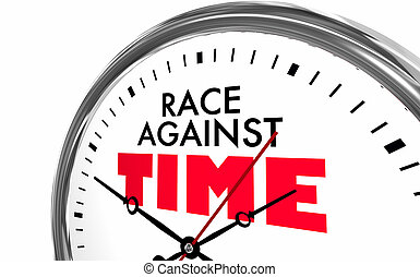 relógio, ganhe, ilustração, raça, compita, palavras, tempo, correndo, 3d