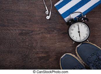 relógio, headphones., acima, madeira, vista, toalha, condicão física, experiência., topo, sapatos